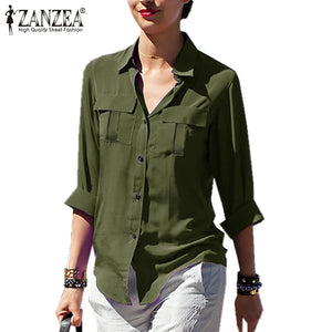 Zanzea 2018 Spring Chiffon Blusas T Shirt Women Casual Pockets Long Sleeve Shirt Oversized Tops Lapel Blusa Sexy See-through Top by Jackie Boatwright. Curated, affordable fashion.