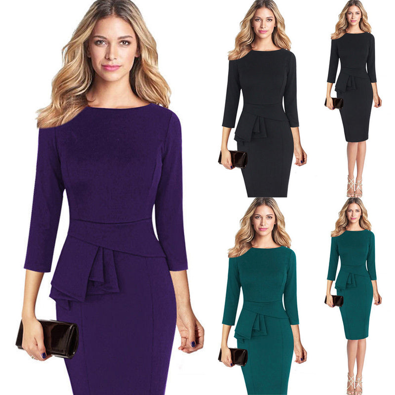Women Elegant Frill Peplum 3/4 Gown Sleeve Work Business Party Sheath Dress by Jackie Boatwright. Curated, affordable fashion.