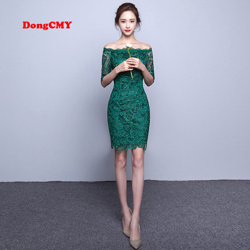 DongCMY WT2098 short fashion elegant medium sleeves lace green color Party bandage Cocktail Dress by Jackie Boatwright. Curated, affordable fashion.
