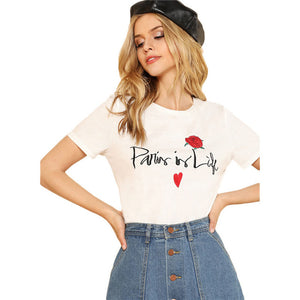 SHEIN Letter And Flower Embroidered Tee White Round Neck Short Sleeve Clothing Women Cotton T-shirt 2018 Summer Casual Top Tee by Jackie Boatwright. Curated, affordable fashion.