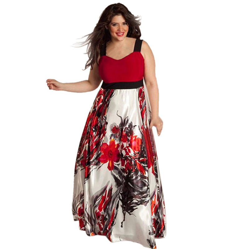 Plus Size Women Floral Printed Long Evening Party Prom Gown Formal Dress by Jackie Boatwright. Curated, affordable fashion.