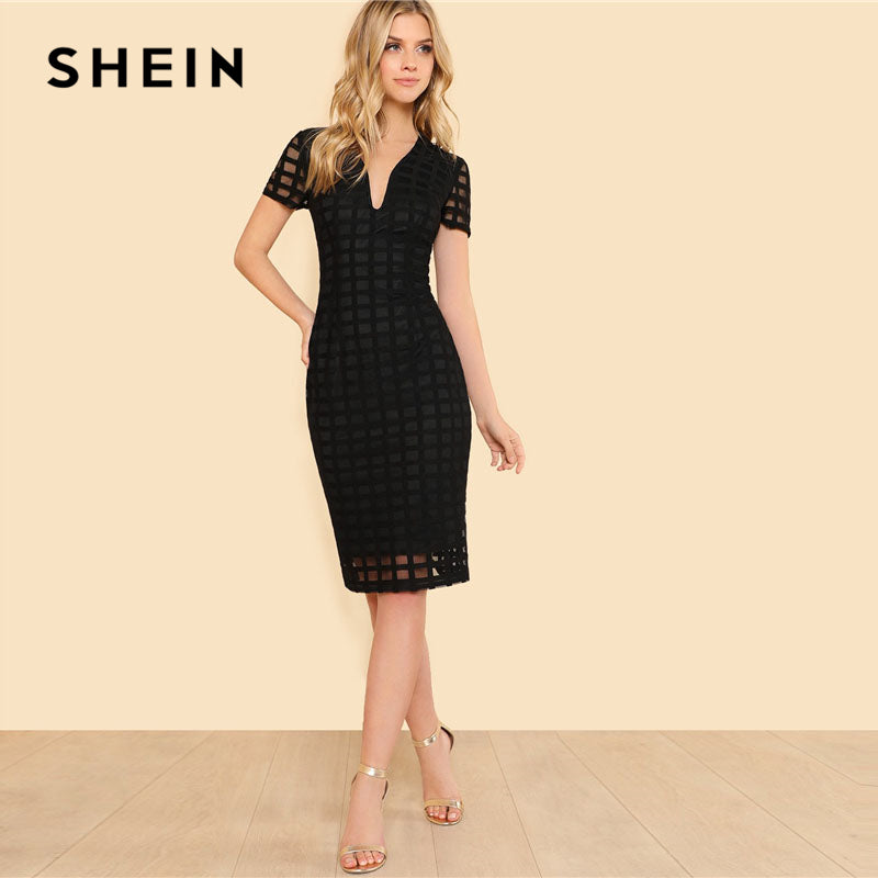 SHEIN Black Square Cut Overlay Lace Dress Women Deep V Neck Short Sleeve Zipper Plain Pencil Dress 2018 Elegant Party Dress by Jackie Boatwright. Curated, affordable fashion.