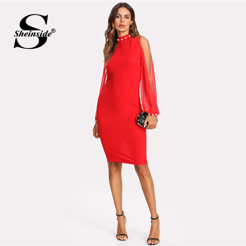 02bbbb6731 Sheinside Split Sleeve Pearl Detail Pencil Dress 2018 Summer Stand Collar  Knee Length Pencil Dress Women Red Bodycon Dress
