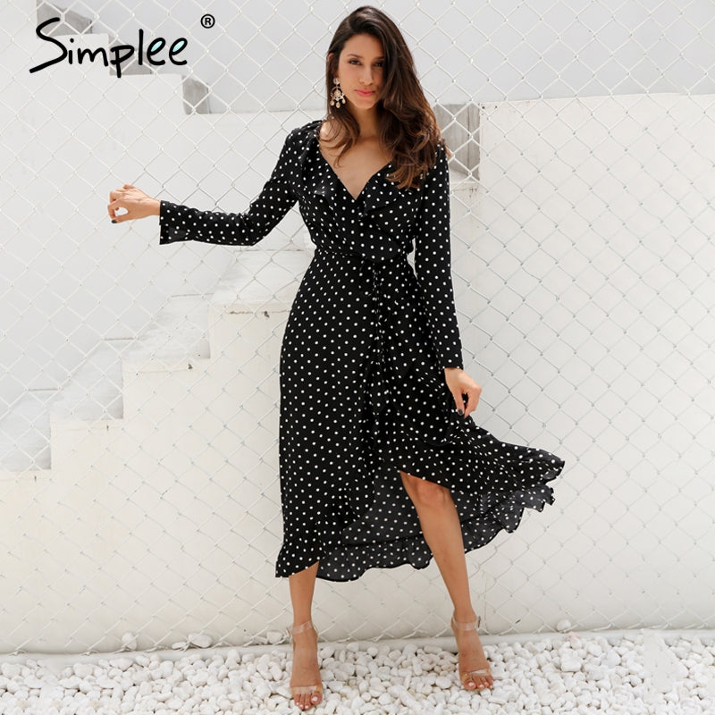 Simplee Polka dot ruffle wrap long dress Women Split long sleeve spring casual dress 2018 Streetwear black maxi dress vestidos by Jackie Boatwright. Curated, affordable fashion.