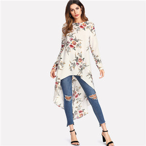 SHEIN Flower Print Dip Hem Longline Trapeze Top 2018 Summer Round Neck Long Sleeve Floral Vacation Blouse Women Beach Top by Jackie Boatwright. Curated, affordable fashion.