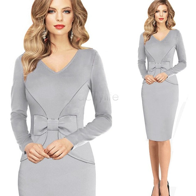 Winter Women's Sexy Vintage Bandage Bodycon Business Pencil Dress Long Sleeve V-Neck Bowknot Midi Dress 30 by Jackie Boatwright. Curated, affordable fashion.