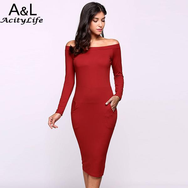Pencil The Shoulder Long Sleeve Clubwear Bodycon Solid Off Dress by Jackie Boatwright. Curated, affordable fashion.