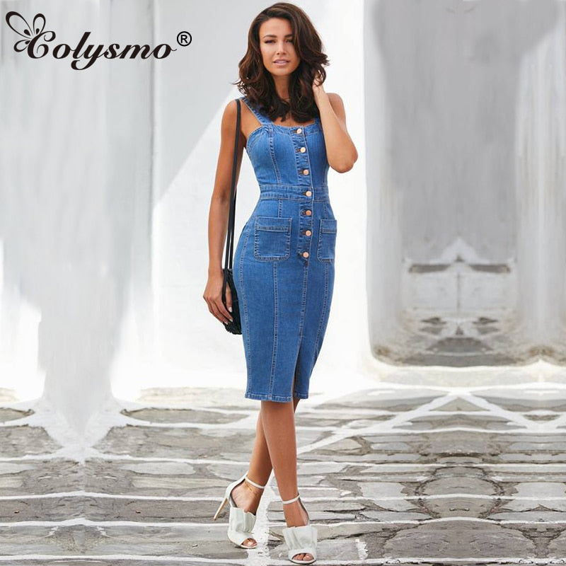 Colysmo Sleeveless Denim Dress Blue Long Jeans Dress Women Midi Autumn Dress Elegant Bodycon Ladies Party Dresses Vestidos Jeans