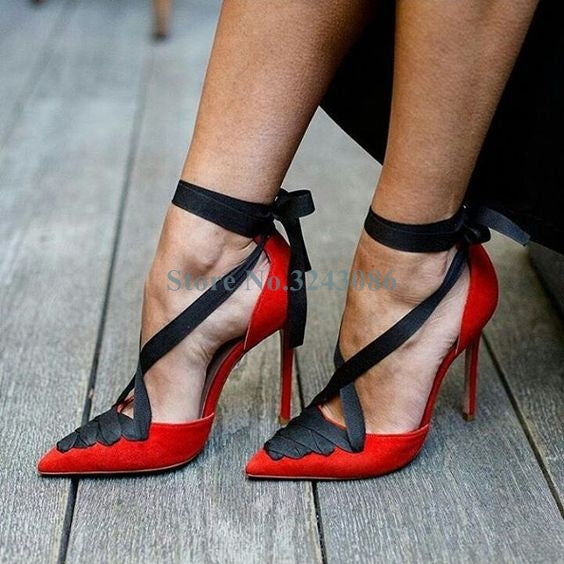 Red Suede Black Ribbon Thin High Heel Shoes Pointed Toe Cross Strap Toe Shoe Elegant Nubuck Lace Up Stiletto Heel Dress Shoes