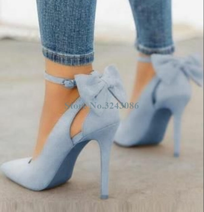 Sky Blue Suede Back Butterfly Knot Thin High Heel Pumps Buckle Strap Stiletto Heel Dress Shoes Sweet Summer Casual Ladies Shoes