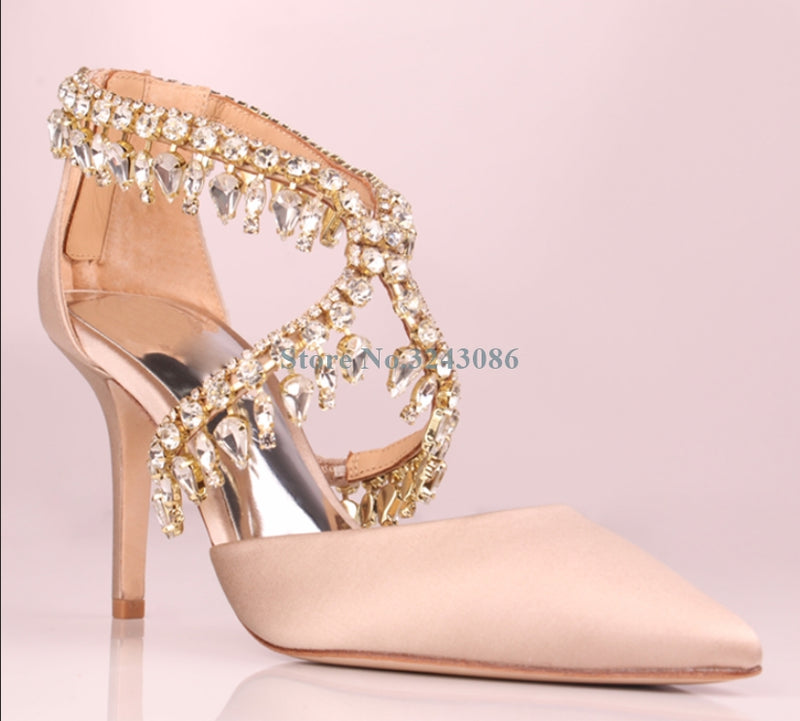 White Red Champagne Silk Thin High Heel Pumps Bling Bling Crystal Cross Tied Stiletto Heel Sandals Elegant Satin Wedding Shoes