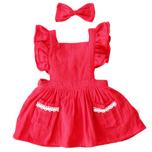 Flutter Dress + bow - Candy Apple