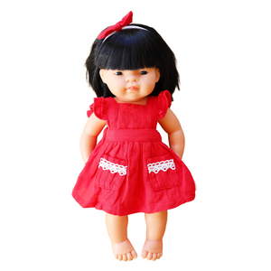 DOLL Flutter Dress + bow - Candy Apple