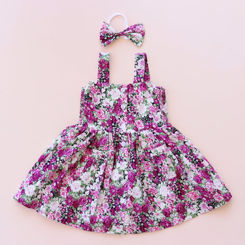 Button Dress + bow - Heidi
