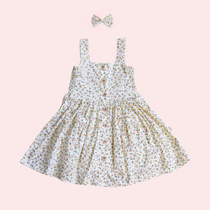 Button Dress + bow - Misty