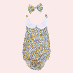 Lace Sunsuit + bow - Bianca
