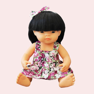 DOLL Button Dress + bow - Heidi