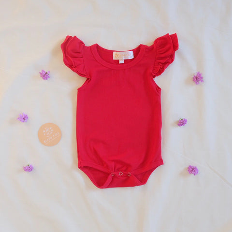 Size 2 Cherry Red shortsleeve flutter