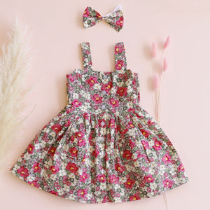 Button Dress + bow - Eva