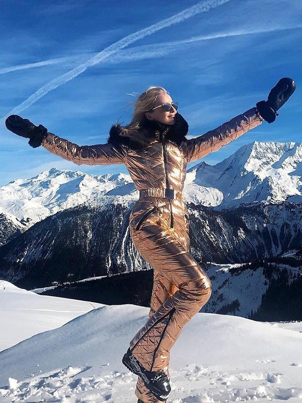 d07424f32 Onesies Silver & Gold Waisted Goose Down Ski Suit – zickera