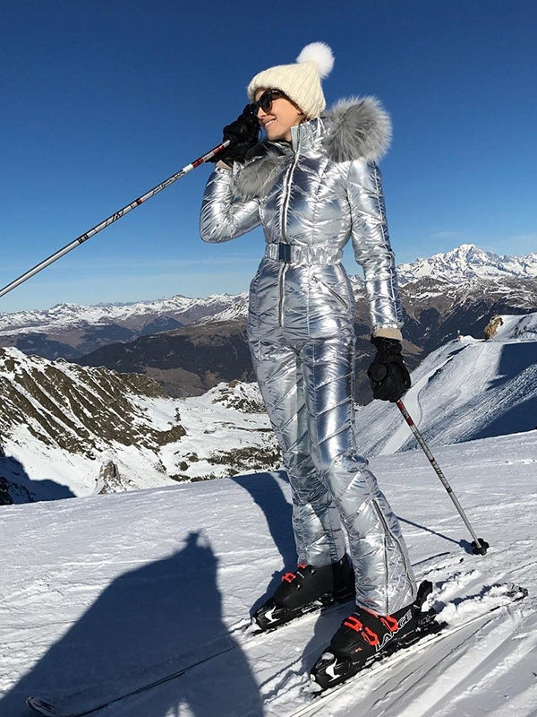 Onesies Silver & Gold Waisted Goose Down Ski Suit