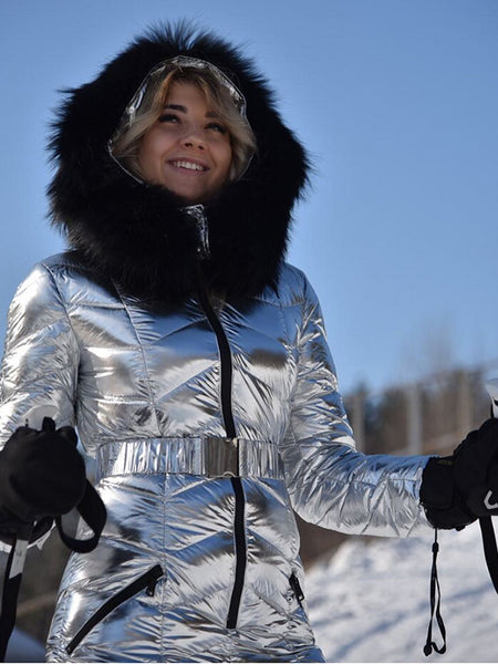 Instagram Most Popular Goose Down Black Fur Silver Ski Suit