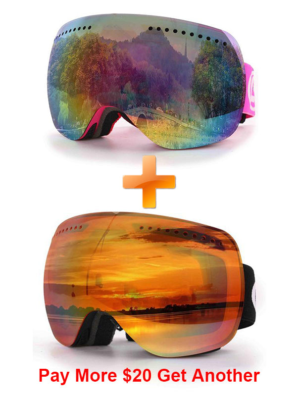 Double-Layer Spherical Venting Design Cold and Anti-Fog Ski Goggles