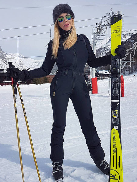 GG Solid Black Warm Waist Ski Suit