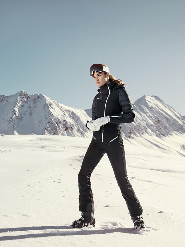 Black Warm Goose Down Slim Ski Suit