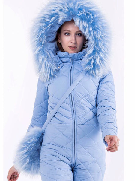 Sky Blue Onesies Goose Down Hooded Ski Suit
