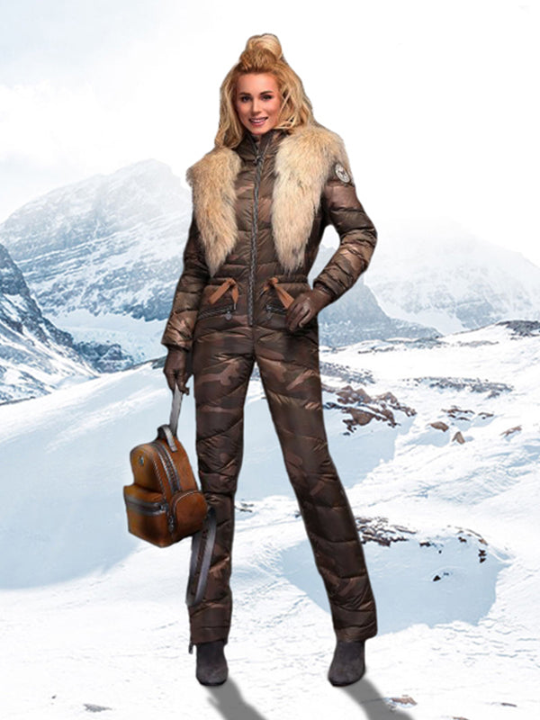 Fashion & Coolest Onesies Waisted Goose Down Ski Suit