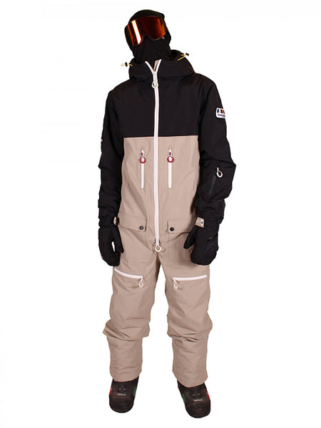 Waterproof & Breathable Black and Brown Ski Suit For Men