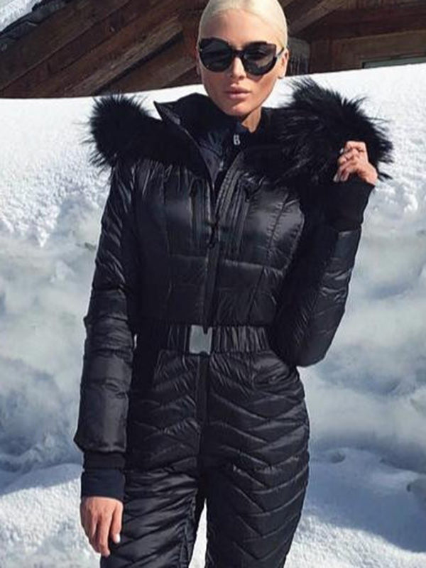 Best Selling Warm Breathable Fur Black Ski Suit