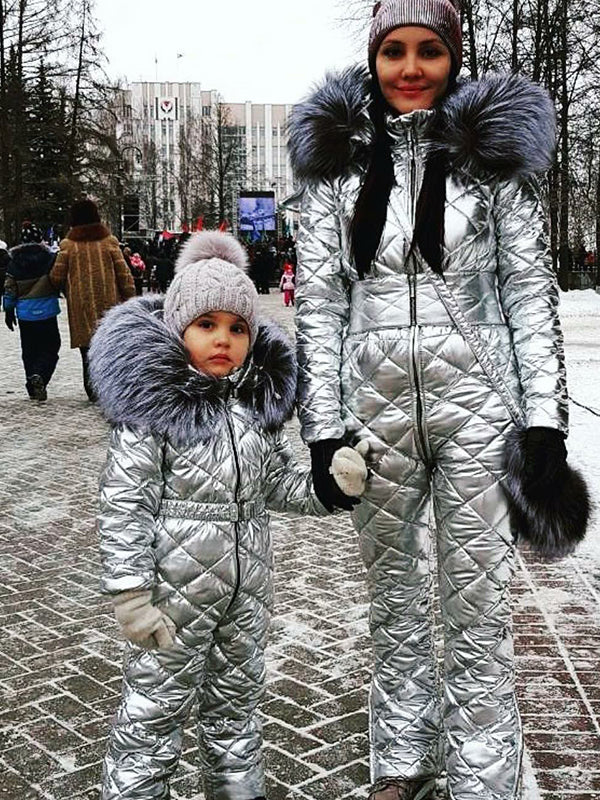 The Coolest Onesies Goose Down Ski Suit For Mother and Child