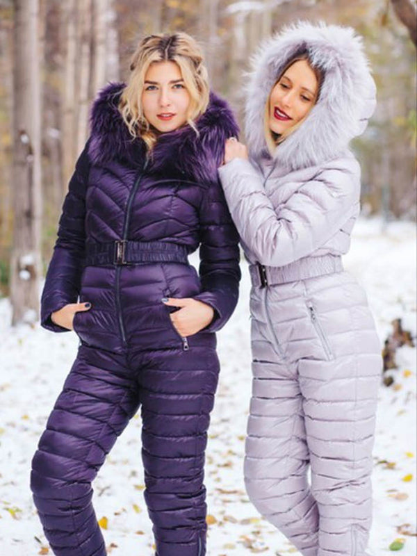 Purple & Light Gray Goose Down Mink Fur Ski Suit Best Selling in Nordic
