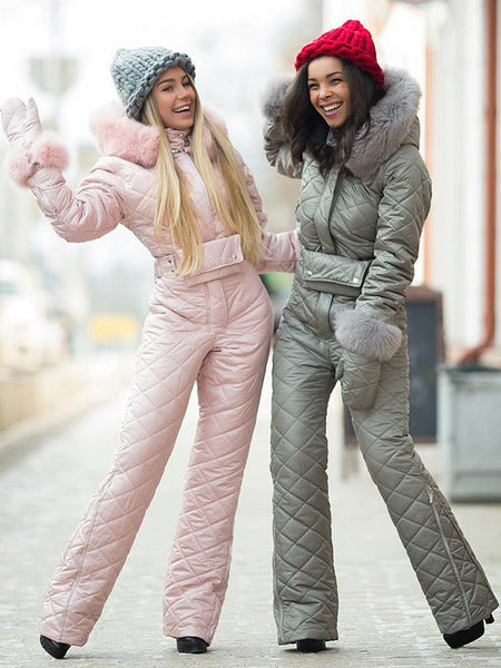 Pink, Sky Blue & Gray Goose Down Fur Ski Suit