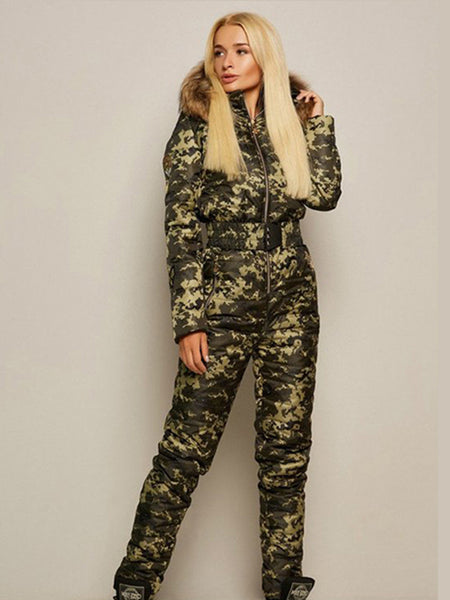 Onesies Camouflage Waisted Goose Down Ski Suit / Coat