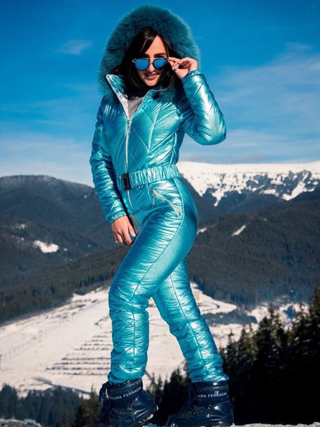Onesies Blue Green & White Gold Waisted Goose Down Ski Suit