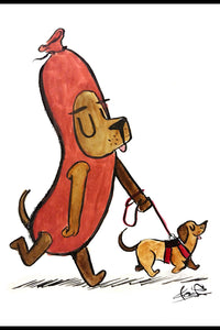 Hot Dog! - Watercolor Painting