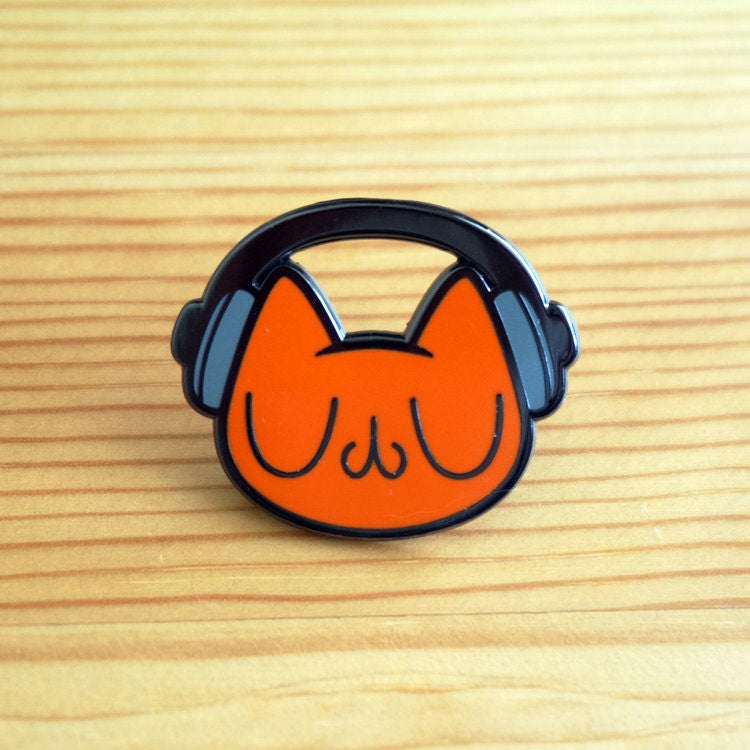 Orange Headphone Meu Enamel Pin