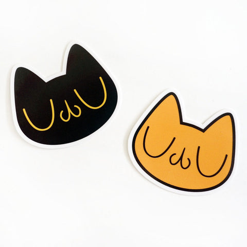 Meu Cat Head Glossy Vinyl Sticker