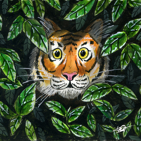 Tiger in the bushes - 5x5 print