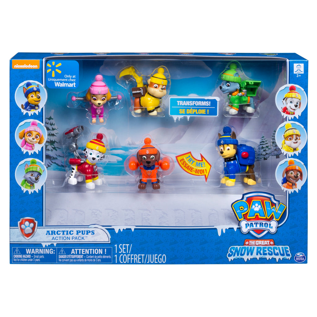 Paw Patrol Arctic team - Complete set of 6 Pups with their Action packs!!