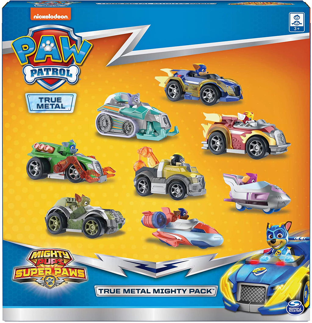 PAW PATROL - 8 pack gift set DIECAST Mighty pups vehicles including Everest , Tracker and all 6 pups vehicles