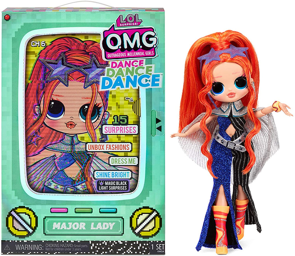 L.O.L LOL Surprise - OMG DANCE - Major Lady Fashion doll with 15 surprises incl Magic Black Light