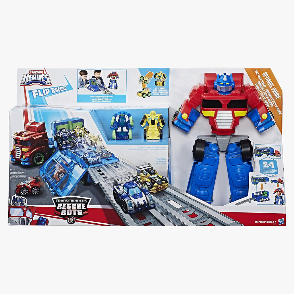 Rescue Bots - OPTIMUS PRIME Rescue Bots Flip Racers - Race Track Trailer