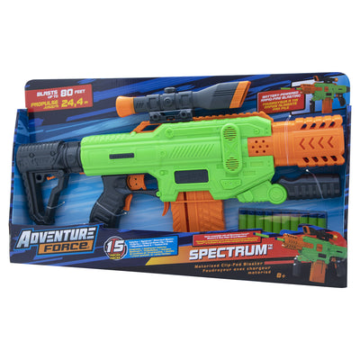 DART ZONE - ADVENTURE FORCE - SPECTRUM Motorized Clip-fed Blaster- ( nerf rival )