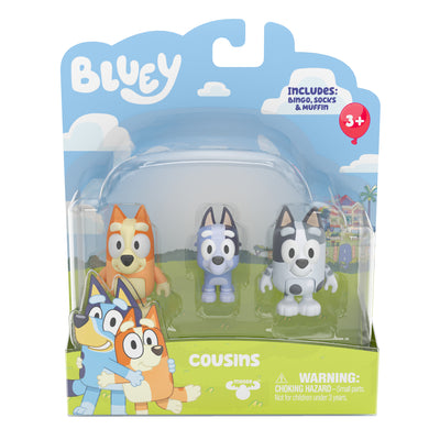 BLUEY - 2 pack figurines COUSINS including Bingo , Socks & Muffin  - PREORDER