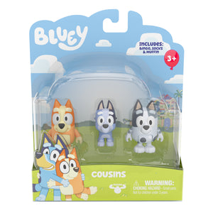 BLUEY - 2 pack figurines COUSINS including Bingo , Socks & Muffin