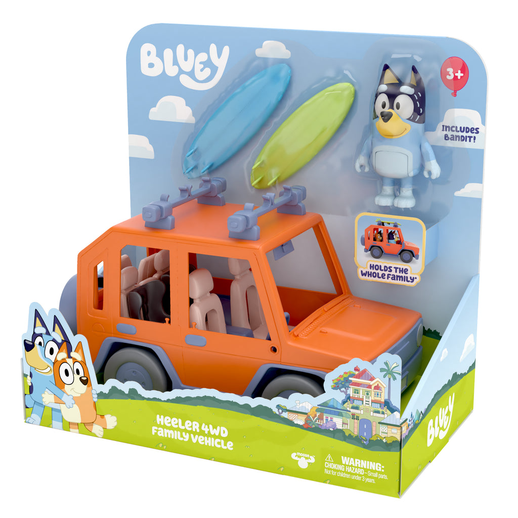 BLUEY - Heeler 4WD FAMILY VEHICLE PLAYSET- Includes Bandit - PREORDER